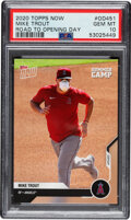 Baseball Cards:Singles (1970-Now), 2020 Topps Now Mike Trout (Covid Mask) #OD451 PSA Gem Mint 10....