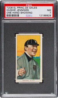 1909-11 T206 El Principe De Gales Hughie Jennings (One Hand Showing) PSA NM 7 - Pop One, One Higher For Brand!
