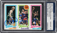 Signed 1980 Topps Bird/Erving/Johnson PSA/DNA Gem Mint 10 - Signed by All Three!
