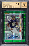 Football Cards:Singles (1970-Now), 2007 Topps Finest Rookie Autographs Adrian Peterson (Green Xfractor) #112 BGS Pristine 10, Auto 10 - #'d 18/25....