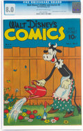 Golden Age (1938-1955):Cartoon Character, Walt Disney's Comics and Stories #8 (Dell, 1941) CGC VF 8.0 Off-white to white pages....