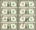 Small Size:Federal Reserve Notes, Ortega Courtesy Autographed Fr. 1912-D $1 1981A Federal Reserve Notes. Uncut Sheet of Four. Choice CU;. Ortega-Baker Court... (Total: 2 sheets)