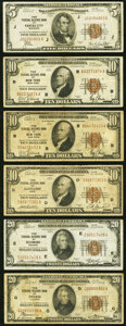 Small Size:Federal Reserve Bank Notes, 1929 Federal Reserve Bank Notes.. Fr. 1850-J $5 VF;. Fr. 1860-B (2); D $10 VG-Fine or Better;. Fr. 1870-E; G $20 F... (Total: 6 notes)