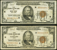 Fr. 1880-B; D $50 1929 Federal Reserve Bank Notes. Fine or Better. ... (Total: 2 notes)