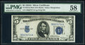 Fr. 1651 $5 1934A Mule Silver Certificate. PMG Choice About Unc 58
