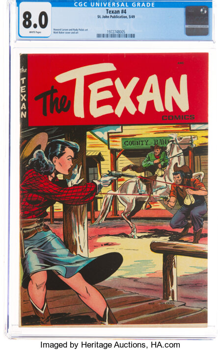 The Texan #4 (St. John, 1949) CGC VF 8.0 White pages....
