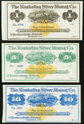 Obsoletes By State:Nevada, Austin, NV- Manhattan Silver Mining Co. $1; $5; $10 187_ Remainders Crisp Uncirculated.. ... (Total: 3 notes)