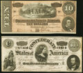 Confederate Notes:1864 Issues, T65 $100 1864 PF-2 Cr. 493 About Uncirculated;. T68 $10 1864 PF-15 Cr. 545 Very Fine.. ... (Total: 2 notes)