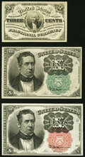 Fractional Currency:Group Lots, Fr. 1226 3¢ Third Issue About New;. Fr. 1264 10¢ Fifth Issue New;. Fr. 1265 10¢ Fifth Issue About New. . ... (Total: 3 notes)