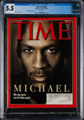 """Basketball Collectibles:Publications, 1998 Michael Jordan """"TIME"""" (6/22, Subscription Edition), CGC 5.5 - Only Graded Exemplar!..."""