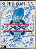 Football Collectibles:Programs, 1985 Chicago Bears Super Bowl XX Multi-Signed Program. ...