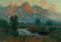 Paintings, Charles Partridge Adams (American, 1858-1942). Teton Range. Oil on canvas. 33 x 48 inches (83.8 x 121.9 cm). Signed lowe...