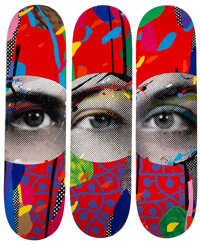 Paul Insect (b. 1971) I See 1, 2, & 3, 2020 Screenprints in colors on skate decks 31-3/4 x 8-1/4