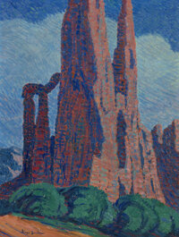 Birger Sandzén (American, 1871-1954) Cathedral Spires (No. 2), 1919 Oil on canvas 48 x 36 inches