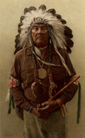 Paintings, James Elliott Bama (American, b. 1926). Chester Medicine Crow with his Father's Peace Pipe and Medal, Crow Reservation, Mo...
