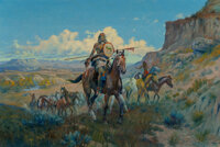 Olaf Carl Seltzer (American, 1877-1957) Horse Thieves Oil on canvas 20 x 30 inches (50.8 x 76.2 c
