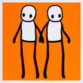 Prints & Multiples, Stik (20th century). Holding Hands (set of 5), 2020. Offset lithographs in colors on wove paper with newspaper. 19-3/4 x... (Total: 6 Items)