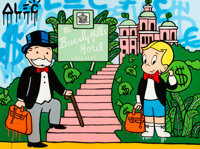 Alec Monopoly (b. 1986) Beverly Hills Hotel Entrance, early 21st century Acrylic on canvas 36 x 4