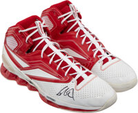 Circa 2008 Yao Ming Game Worn & Dual Signed Sneakers with Special Foot Care Rockets Label