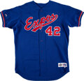 Baseball Collectibles:Uniforms, 1990's Montreal Expos #42 Game Worn Batting Practice Jersey. ...