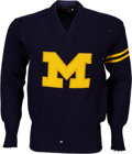 Football Collectibles:Others, 1947-49 Lloyd Heneveld Michigan Wolverines Letterman's Sweater - Back-to-Back National Champions!...