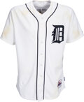 Baseball Collectibles:Uniforms, 2012 Max Scherzer Game Worn & Signed Detroit Tigers Jersey, Unwashed--MLB Authentic!...