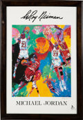 Basketball Collectibles:Others, 1991 Michael Jordan Poster by LeRoy Neiman Signed by Both....