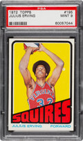 Basketball Cards:Singles (1970-1979), 1972 Topps Julius Erving Rookie #195 PSA Mint 9 - Only One Superior! ...