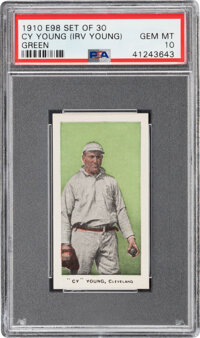 """1910 E98 """"Set of 30"""" Cy Young (Irv Young-Green) PSA Gem Mint 10--Population One!"""