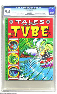 Tales from the Tube #1 (Print Mint, 1973) CGC NM 9.4 White pages. Cowabunga, dudes! Here's Rick Griffin's classic stoned...