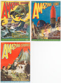 """Pulps:Science Fiction, Amazing Stories - """"Land That Time Forgot"""" Group of 3 (Ziff-Davis, 1927) Condition: Average FN.... (Total: 3 Comic Books)"""