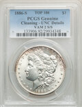 1886-S/S $1 VAM-2, -- Cleaning -- PCGS Genuine. Unc Details. A Top 100 Variety. Mintage 750,000....(PCGS# 133906)