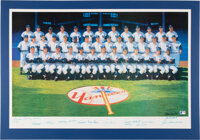 1961 New York Yankees Team Signed Lithograph by Ron Lewis