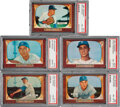 Baseball Cards:Lots, 1955 Bowman Brooklyn Dodgers PSA NM-MT 8 Graded Collection (5). ...