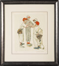 """Baseball Collectibles:Others, 1970's """"Four Sporting Boys: Baseball"""" Artist's Proof Print Signed by Norman Rockwell...."""