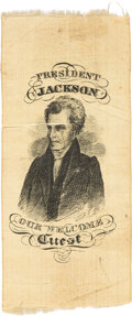 """Political:Ribbons & Badges, Andrew Jackson: The Classic """"Guest"""" Ribbon Variety. ..."""