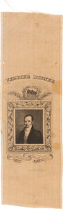 Political:Ribbons & Badges, Daniel Webster: A Rare Silk Ribbon Picturing a Youthful Webster. ...