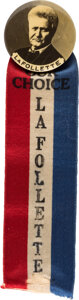 Political:Pinback Buttons (1896-present), Robert La Follette: Real Photo Picture Pin and Ribbon....