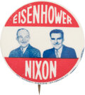 """Political:Pinback Buttons (1896-present), Eisenhower & Nixon: Scarce Jugate in the Desirable 1 1/4"""" Size. ..."""