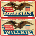 Political:3D & Other Display (1896-present), Roosevelt & Willkie: Pair of License Plate Attachments.... (Total: 2 Items)
