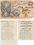Political:Small Paper (pre-1896), Lincoln & Johnson: Postal-Used Jugate Cover and Two 1860 Indiana Ballots. ... (Total: 2 Items)