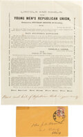 Political:Small Paper (pre-1896), Abraham Lincoln: Young Men's Republican Union Circular with Transmittal Envelope.... (Total: 2 Items)