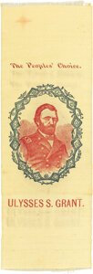 """Political:Ribbons & Badges, Ulysses S. Grant: Colorful """"People's Choice"""" Portrait Ribbon on Yellow Silk...."""