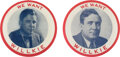 """Political:Pinback Buttons (1896-present), Wendell Willkie: Pair of 3 1/2"""" Buttons.... (Total: 2 Items)"""