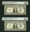 Small Size:Silver Certificates, Fr. 1619 $1 1957 Silver Certificates. H-A, I-A, J-A, L-A, and N-A Blocks. PMG Graded Gem Uncirculated 66-Gem Uncirculated 66 ...