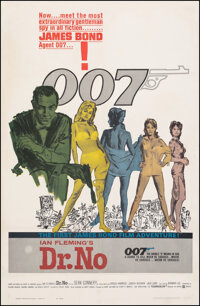 "Dr. No (United Artists, 1962). Fine- on Linen. Trimmed One Sheet (27"" X 41"") Mitchell Hooks Artwork. James Bon..."