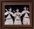 Autographs:Photos, Joe DiMaggio, Mickey Mantle & Ted Williams Signed Large Photograph. ...