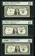 Small Size:Silver Certificates, Fr. 1620 $1 1957A Silver Certificates. G-A, H-A, and I-A Blocks. PMG Graded Superb Gem Unc 67 EPQ (2); Gem Uncirculated 66 EPQ... (Total: 3 notes)