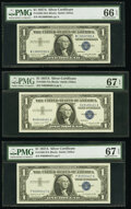 Small Size:Silver Certificates, Fr. 1620 $1 1957A Silver Certificates. M-A, N-A, and P-A Blocks. PMG Graded Gem Uncirculated 66 EPQ; Superb Gem Unc 67 EPQ (2)... (Total: 3 notes)