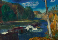 George Wesley Bellows (American, 1882-1925) Mill Dam, 1924 Oil on canvas 16-1/2 x 24 inches (41.9